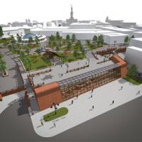 Три проекти забудови речового ринку на Тринітарській площі в Івано-Франківську. Фото