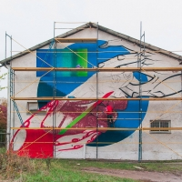 В Івано-Франківську відомий художник створює черговий мурал. Фото