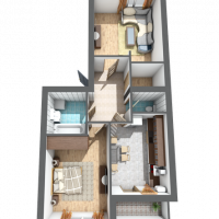 Двокімнатна квартира, 58,8м²