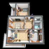 Трикімнатна квартира, 73,9м²