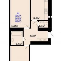 63, 87 м²